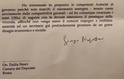 Estratto Lettera Presidente Napolitano
