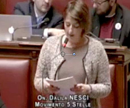 Dalila Nesci durante il discorso in Aula