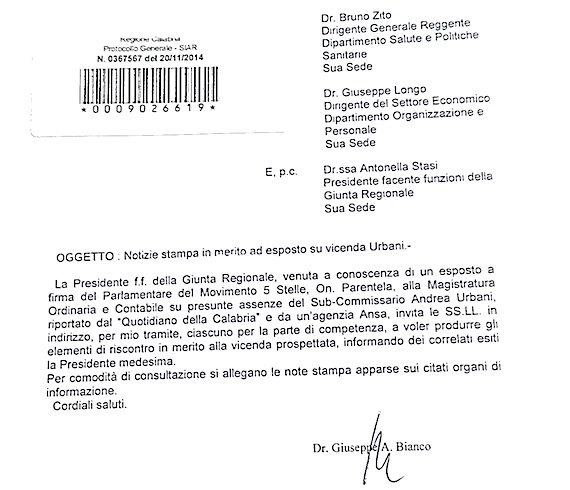 Documento inchiesta interna