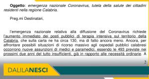 Emergenza coronavirus impegno nesci Sapia Calabria